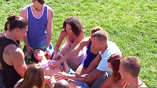 Hot wife gets a bunch of hands all over at foreplay activity