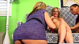 Busty blonde MILFs share some young hard black cock!