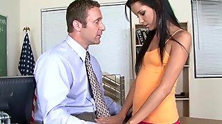 Busty MILF Cumswaps With Schoolgirl in Classroom