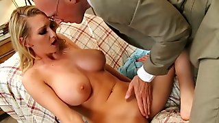Big tit towheaded milfs enjoy to be spanked during rough sex